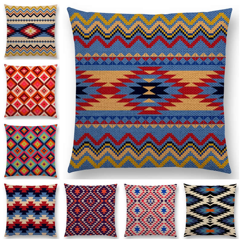 Colorful Aztec Geometric Pattern Tribal Prints Abstract Rainbow Ethnic Plaid Decorative Cushion Cover Sofa Throw Pillow Case
