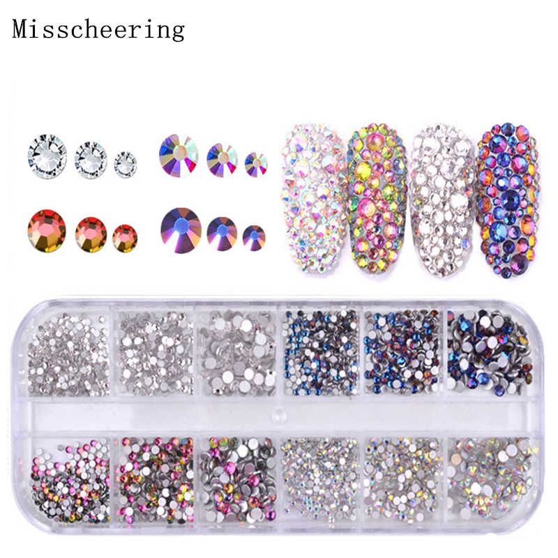 67f6061e71 1 Pack Shiny Crystal Nail Art Rhinestone Decorations Mixed Size And Colors  Flat-back Glass Gems 3D Design Manicure Accessories