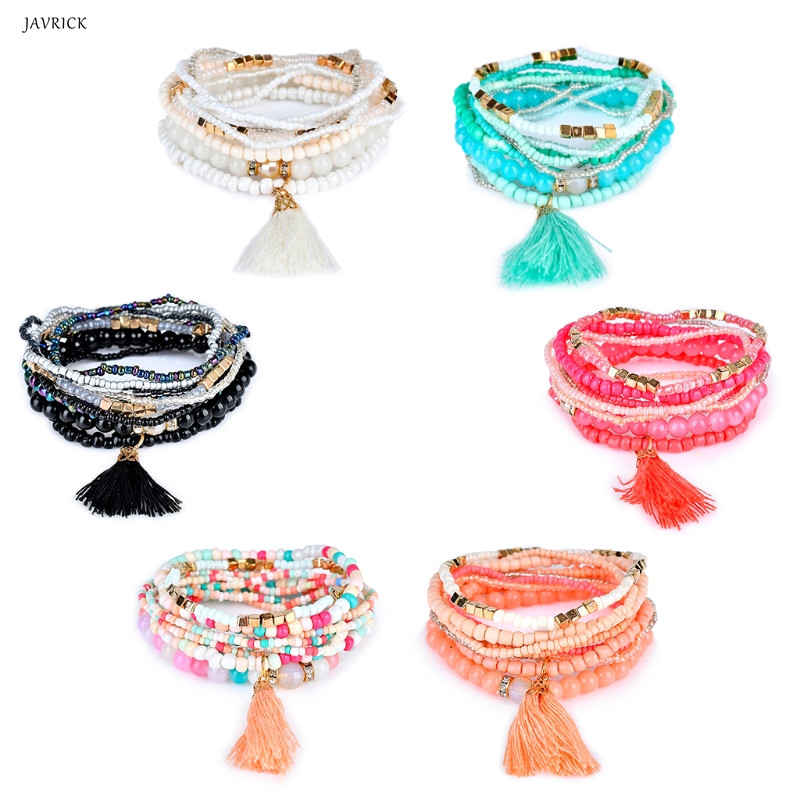 JAVRICK New Women Ethnic Boho Style Multilayer Tassel Beads Bracelet Bangle Party Gift