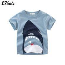 27 niños 2-9Year Animal bebé niños niñas Camiseta de manga corta para niños de verano libre de envío en todo el mundo/hecho a mano de los tejidos orgánicos. móvil de ropa de manga de algodón