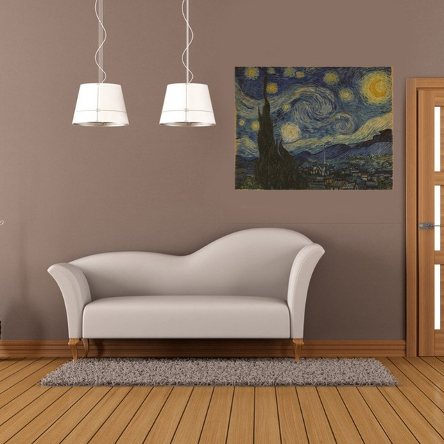Living Room Background & kraft paper starry night vintage poster wall sticker wall