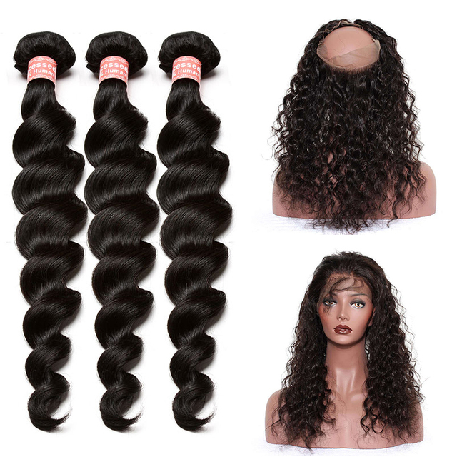 360 Lace Frontal With Bundles Pre Plucked Loose Wave Brazilian Remy