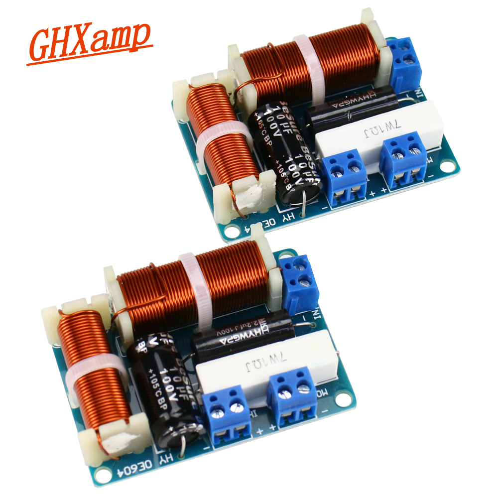 GHXAMP 2 Way Crossover Audio Speaker Board MINI Tweeter Bass Bookshelf HIFI Loudspeaker Frequency Divider Universal 80W 2PCS