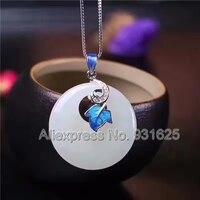925 naturalny, Biały HeTian Yu Okrągły Dynda Niebieski Klejnot Projekt Szczęście Naszyjnik + certyfikat Biżuteria