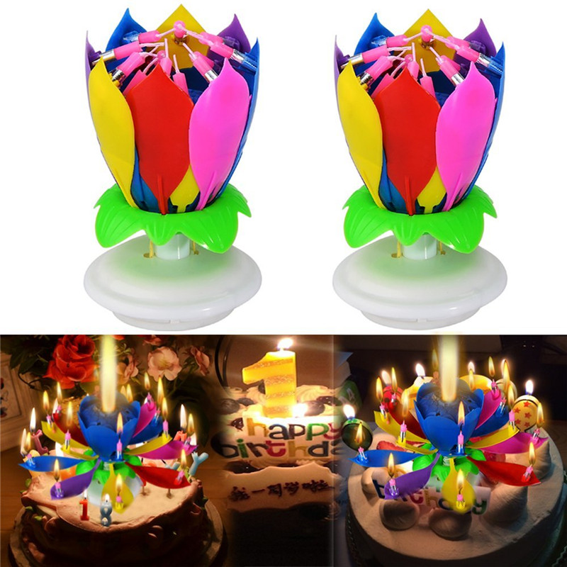 Candles & Holders 2pcs/set Fashion Amazing Romantic Musical Lotus Rotating Happy Birthday Wedding Candle Magical Sparklers For Party Gift