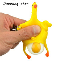 New Funny Tricky Chicken Parody Toys Ventilation Hens Eggs Stress Keyring Ball Gadgets(China)