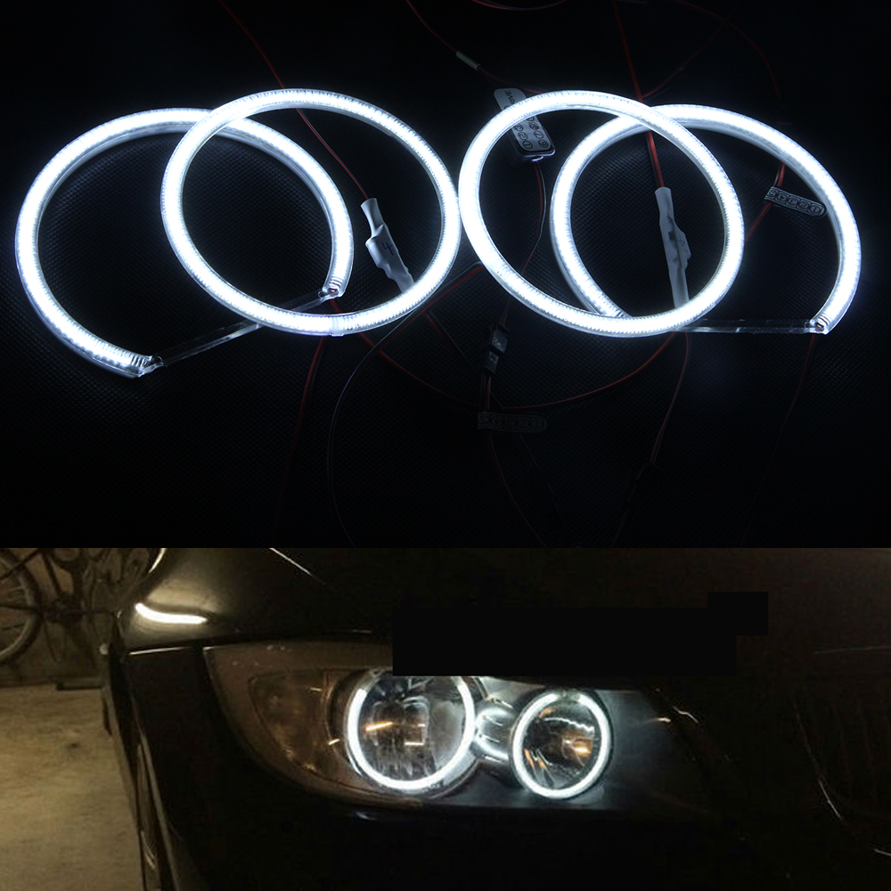 10000K Pure White Led Angel eyes halo ring kit for BMW E90 3 series '05-'08 4-door Saloon Non-projector Xenon Headlight only led rings white 3014 smd led angel eyes headlight halo ring marker 131mm 145mm for bmw e46 non projector