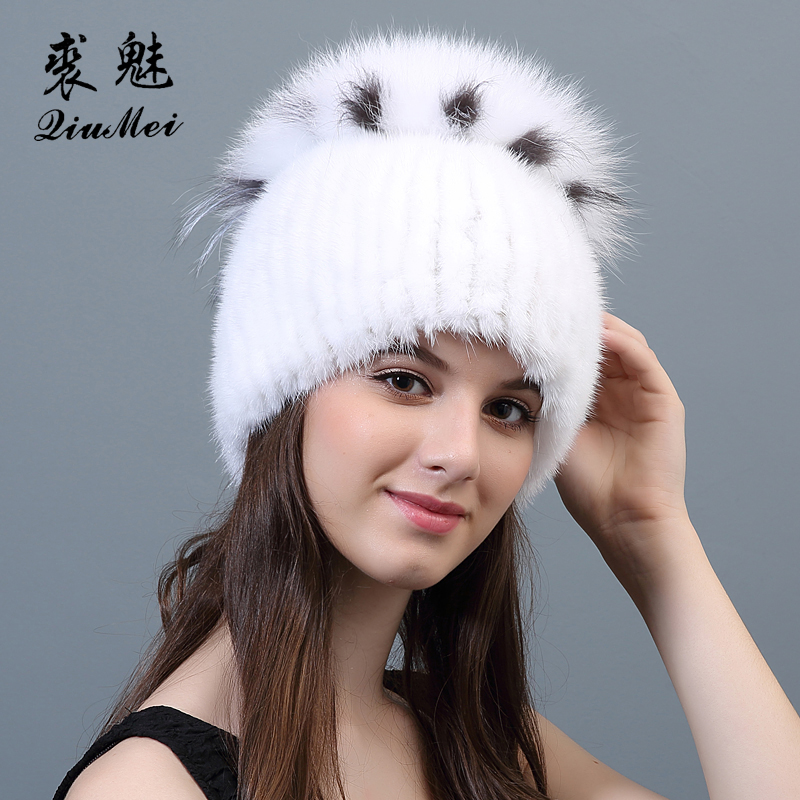 Winter Hats For Women Mink Fur Hat 2018 New Fashion Fur Knitted Caps Solid Casual   Beanies   Female Caps Russian Girls Mink Hats