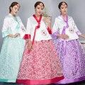 Vestido Tradicional coreano 2017 New Arrivals Vestidos Étnicos Tradicionais Bordados Tribunal Noiva Roupas Hanbok Coreano