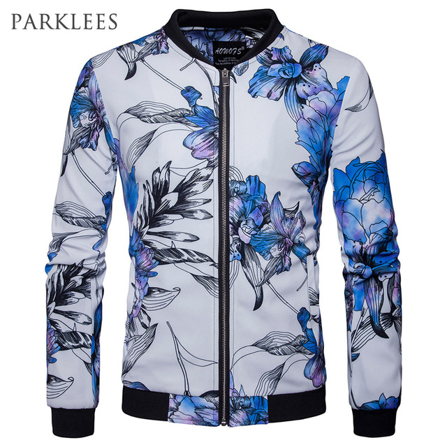 757d6d9100c73 Blue Floral Bomber Jacket Men Brand New Design Mens Jackets and Coats Casual  Slim Fit Varsity