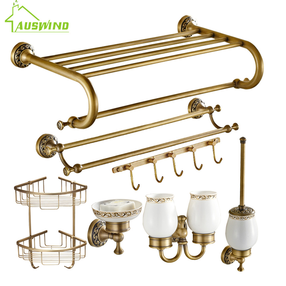 Exceptional Europe Bronze Bathroom Hardware Sets Antique Solid Brass Carved Bathroom  Accessories Bathroom Products Df15(China
