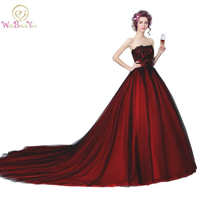 Walk Beside You Real Black and Burgundy Evening Dresses Strapless Lace Ball Gown Floor Length Lace UP Back Long Prom Gown