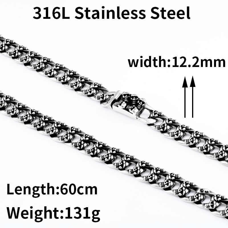 Beier nowy przyjeżdża stal nierdzewna 316L władcze 12.2mm szerokość stal nierdzewna Punk czaszka naszyjnik łańcuch wysokiej jakości BN1000