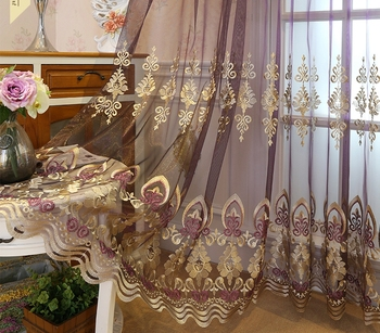 Voile Curtain minimalist embroidery curtain window screen living room balcony fabric curtain