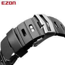 الأصلي 24 مللي متر الأسود سيليكون المطاط حزام ساعة الرياضة الفرقة ل ساعة اليد EZON L008 T023 T029 T031 G1 G2 G3 S2 H001 T007