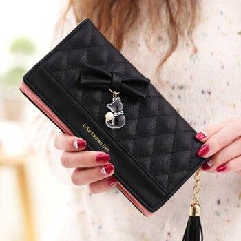 bb5f87502108 Женские кошельки с кисточками, милые, Carteira Feminina, модный кошелек для  монет, держатель для карт, милый длинный клатч для девочек, женский кошел.