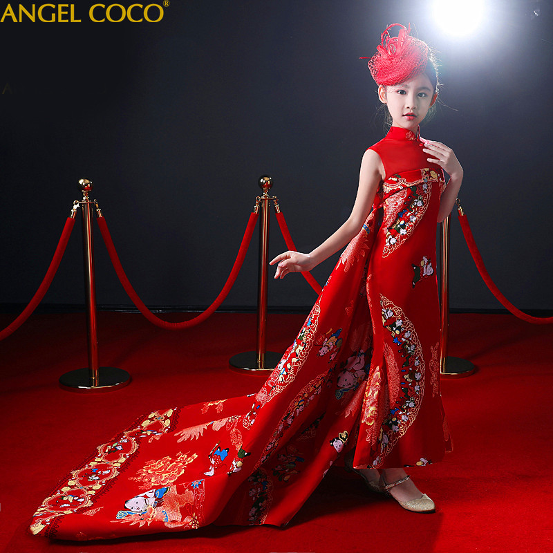 New Year Children'S Evening Dress Trailing Princess Dress Red Girl Stage Catwalk Show Costume Winter Evening Gown Girls Clothes