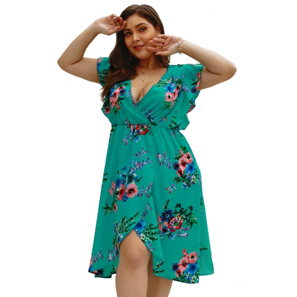 WHZHM синий свободные сексуальные плюс Размеры 3XL 4XL шифоновое платье Для женщин Vestido глубокий v-образным вырезом печатных Повседневное Цветок Летнее пляжное шифоновое платье