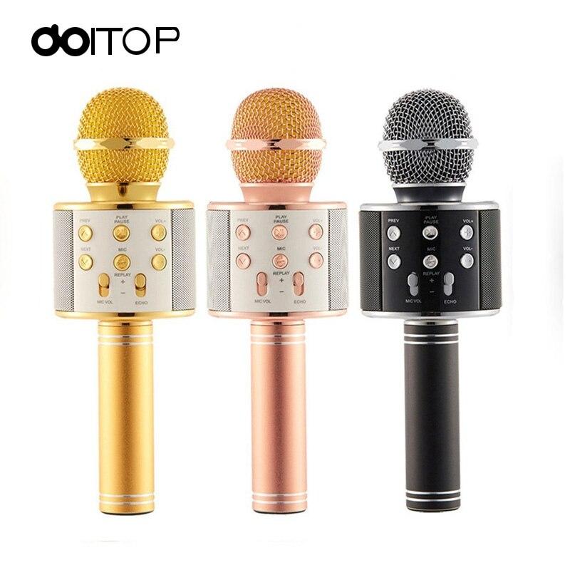 DOITOP WS858 Condensador Microfone Sem Fio Microfone de Karaokê Magia Do Telefone Móvel Jogador BT Speaker MIC Gravar Música Para PC