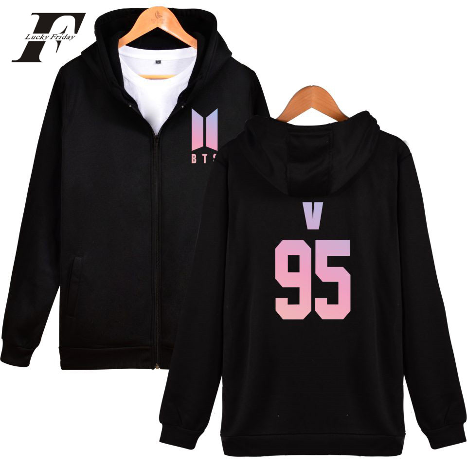 LUCKYFRIDAYF BTS DNA Zipper Sweatshirt Women Hoodies Winter Bangtan Love Yourself Kpop Hoodies Women Hip Hop Zipper K-pop Clothe