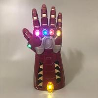 Top Quality Avengers Endgame Iron Man Cosplay Arm Tony Stark Gemstone Infinity Gauntlet Hulk LED Thanos PVC Gloves Snap Mittens