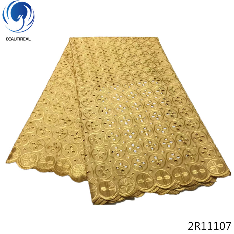 Beautifical Gold cotton lace embroidery lace fabrics nigerian voile lace fabric material 5 yards/lot for wedding dresses 2R111