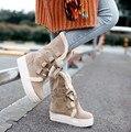 2017 mujeres de la muchacha otoño invierno botas de nieve caliente botas aumento de la altura cuña de la plataforma media pantorrilla botas botines enredaderas de esquí más el tamaño 43