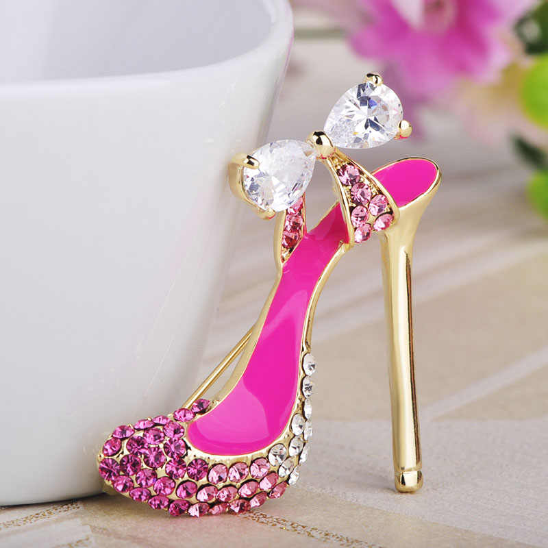 bc3402db42238 ... Blucome New fashion High Heel Crystals Shoes Brooch Gold Color Red  Enamel Brooches Jewelry Pins Women ...