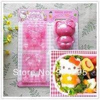 Großverkauf-freies verschiffen 1 satz Cartoon Kitty 3D sushi form Sandwich/Käse/Schinken Cutter/Reis Form form Und Briefmarken