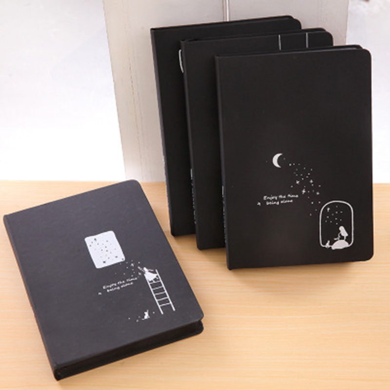 4 PCS A touch of star creative black notebook kawaii notebook paper agenda notebook Stationery gift