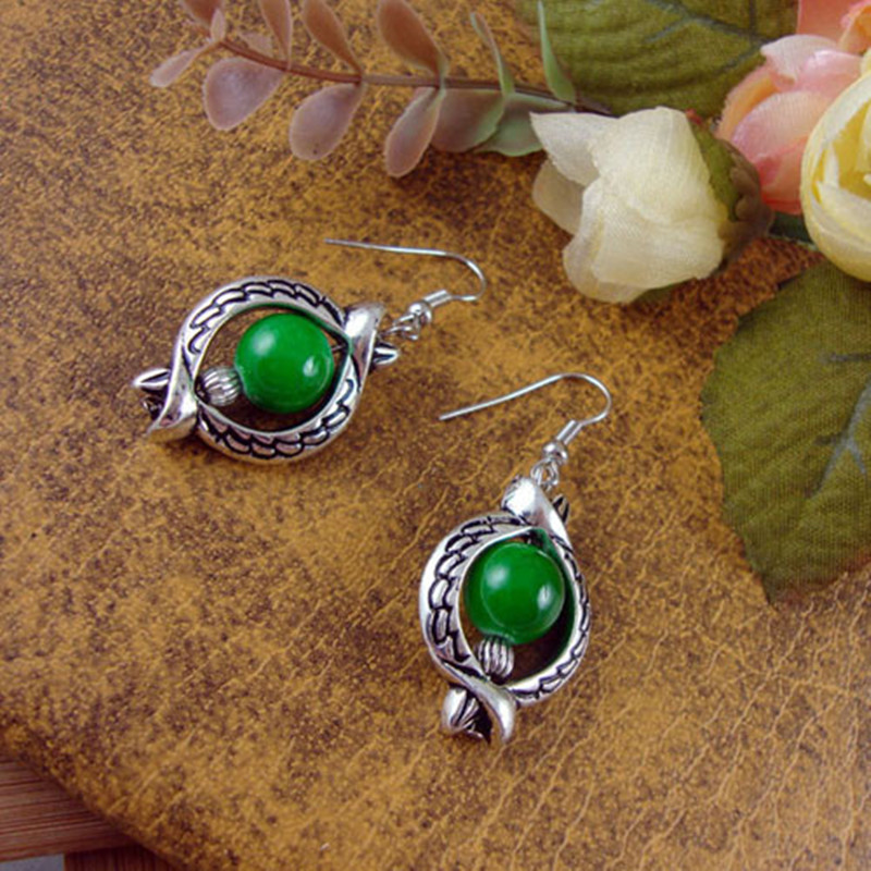 2016 Jewelry fashion women classic folk style silver wholesale Bohemia drops Round Earrings folk-custom Tibetan silver earrings