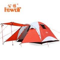 Hewolf палатка двойной Слои Водонепроницаемый 4 5 человек туристический охоты непромокаемые палатки двухкомнатная квартира семейная палатка