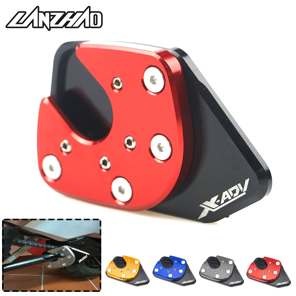 For Honda X-ADV XADV 750 <font><b>2017</b></font> 2018 Motorcycle <font><b>CNC</b></font> Aluminum Side Stand Enlarger Kick Stand Extension Plate Enlarge Pad Red Gold image