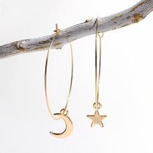 SUKI 2019 New Fashion Women Jewelry Cute Asymmetric Moon Star Hoop Earrings For Daughter Girls Personality