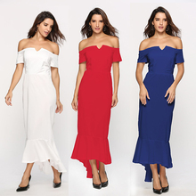 V-Neck Off Shoulder Dresses Women 2018 Evening Gown Sexy Dress Plus Size Short Sleeve Clothing For Ladies