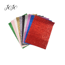 JOJO BOWS 22*30cm 10pcs Sparkly Chunky Glitter Fabric Set Solid Sheet For Needlework DIY Hair Bows Party Home Textile Decoration