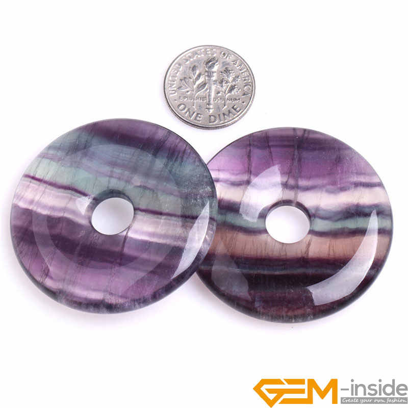 Donuts Shape Natural Multicolor Rainbow Fluorite Ring Circle Beads: 30mm 40mm 50mm Loose Beads For Jewelry Making Wholesale