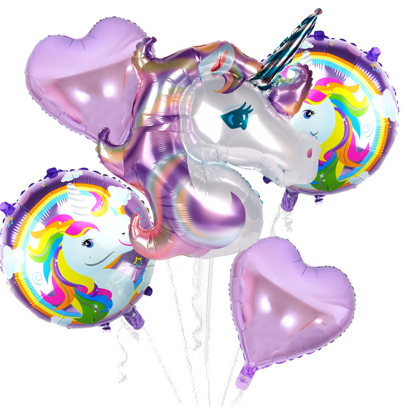 Taoqueen Cartoon Hat Birthday Party Decor Kids Unicorn Balloons My Little Horse Party Supplies Balloons Set Hat