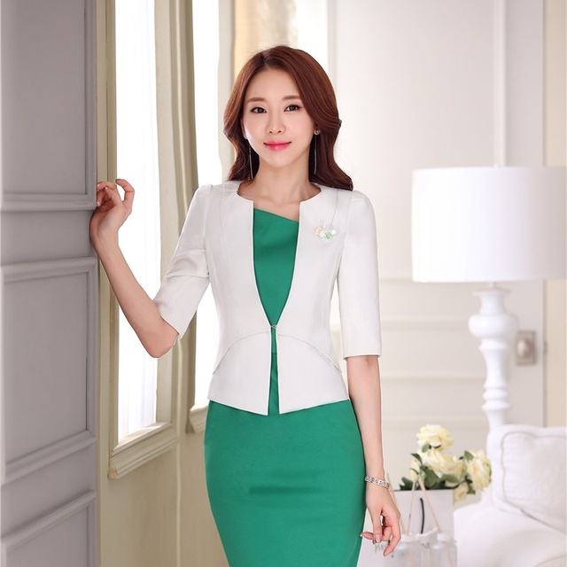 Primavera Verano moda formal damas blanco blazer mujeres media manga  Chaquetas Slim elegante Oficina uniforme estilos 4e7e4641a920