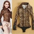 Горячий Продавать 2016 Дамы Офис Длинным Рукавом Leopard Тела Сиамские марка Рубашка женская Новые Slim Fit Боди Блузка ПР Тонкий рубашка
