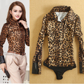 Hot Sell 2016 Ladies Office Long Sleeve Leopard Body Conjoined Brand Shirt Women's New Slim Fit Bodysuit Blouse OL Thin shirt