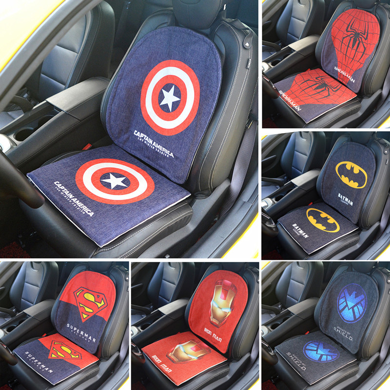 Car Seat Cushion Buttocks Chair Back Pads Auto Decor Protector For Captain America Surperman Spiderman Gifts In Automobiles Covers From