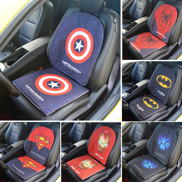 Car Seat Cushion Buttocks Chair Back Pads Auto Decor Protector For Captain America Surperman Spiderman