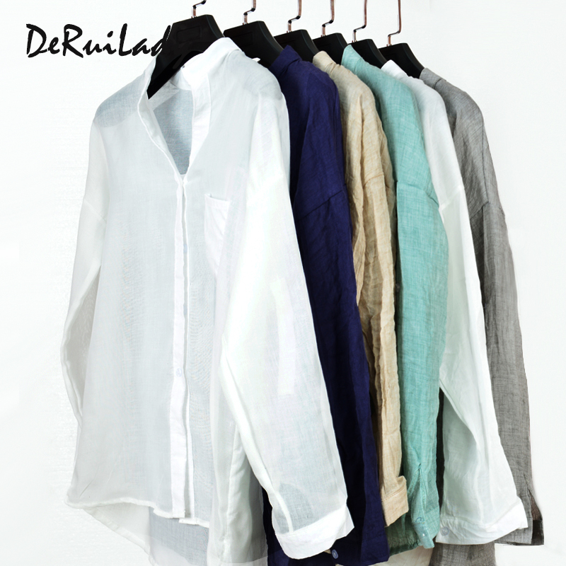 DERUILADY Harajuku Loose Cotton Linen Blouse Spring Summer Three Quarter Sleeves Shirt Women Top Plus Size Shirts Casual clothes