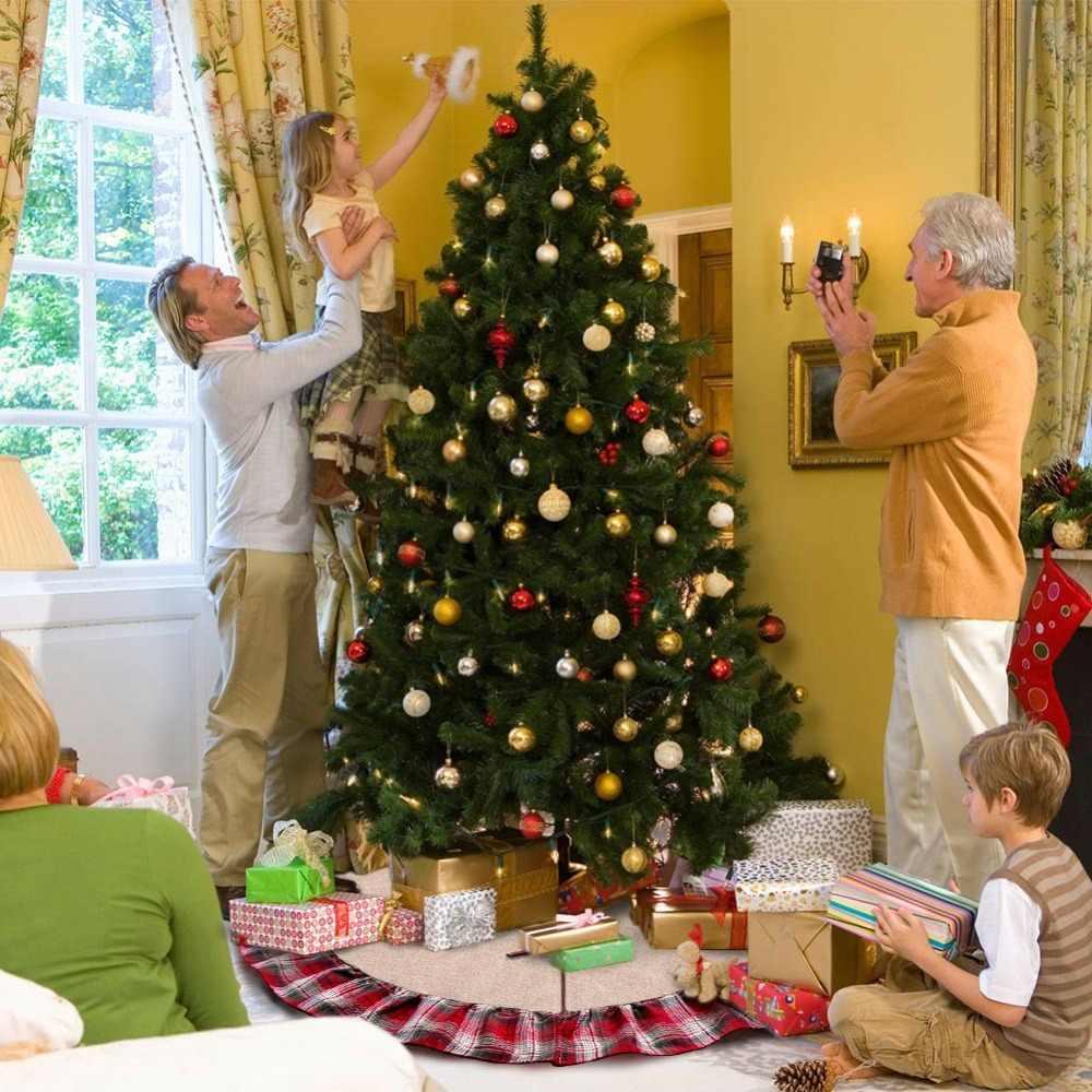 OurWarm 48 אינץ משובץ עץ חג המולד חצאית לפרוע קצה חג המולד חצאית עץ חג המולד קישוטים לבית חדש שנה מתנות