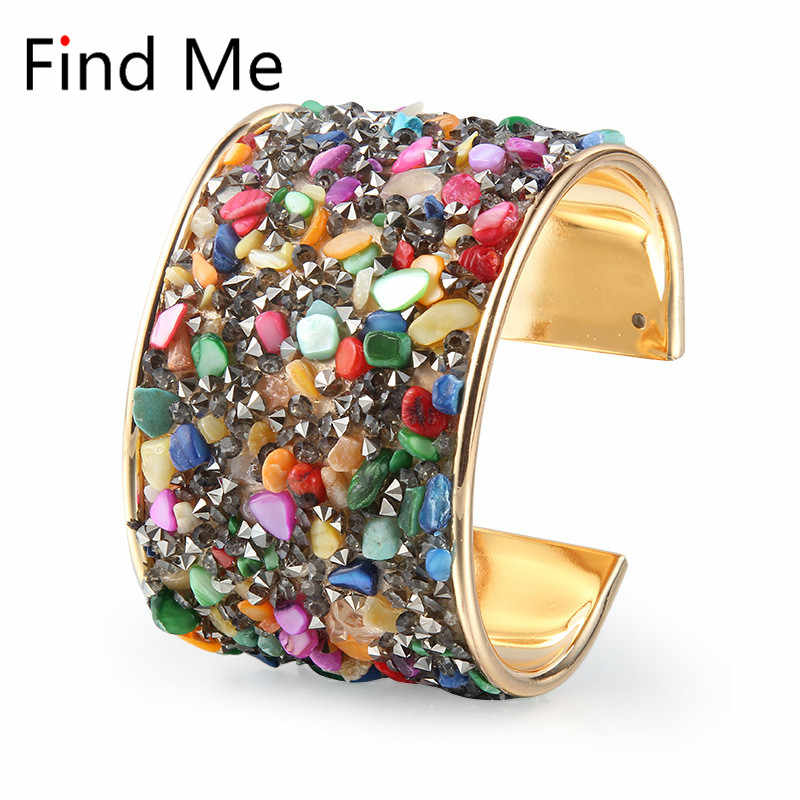 Find Me 2018 fashion Vintage Crystal Mosaic Cuff Bracelet boho Carved Wide mouth bracelets bangle for women Jewelry wholesale