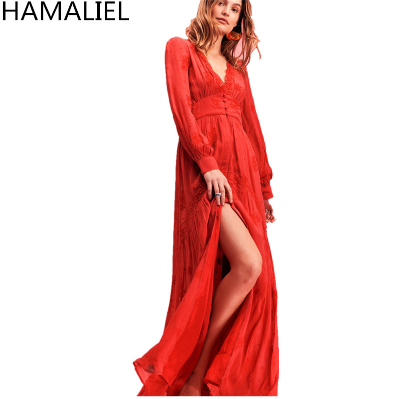 Bohemia Women Dresses 2018 Goddess Orange Cotton Sexy Deep V Neck Long Sleeve Maxi Slim Embroidery Split Long Beach Dresses