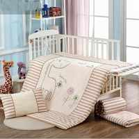3 Pcs New Crib Thicker Cotton Crib Bed Linen Kit Cartoon Baby Bedding Set Includes Pillowcase