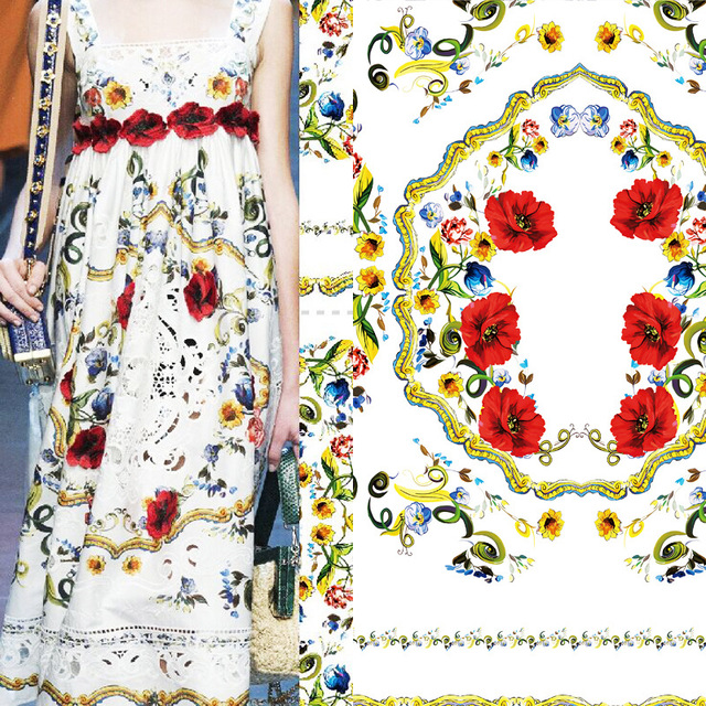 Large family plant fabric printing Thermal transfer printing and dyeing cloth custom finished product printing fabric wholesale