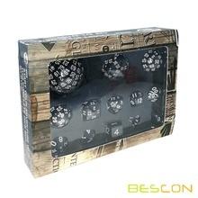 Bescon полный многогранный набор игральных костей 13 шт. D3-D100, 100 сторон набор игральных костей Непрозрачный черный
